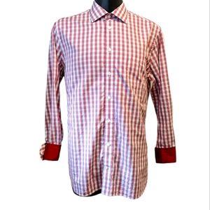 Klauss Boehler men's plaid button front shirt 17.5